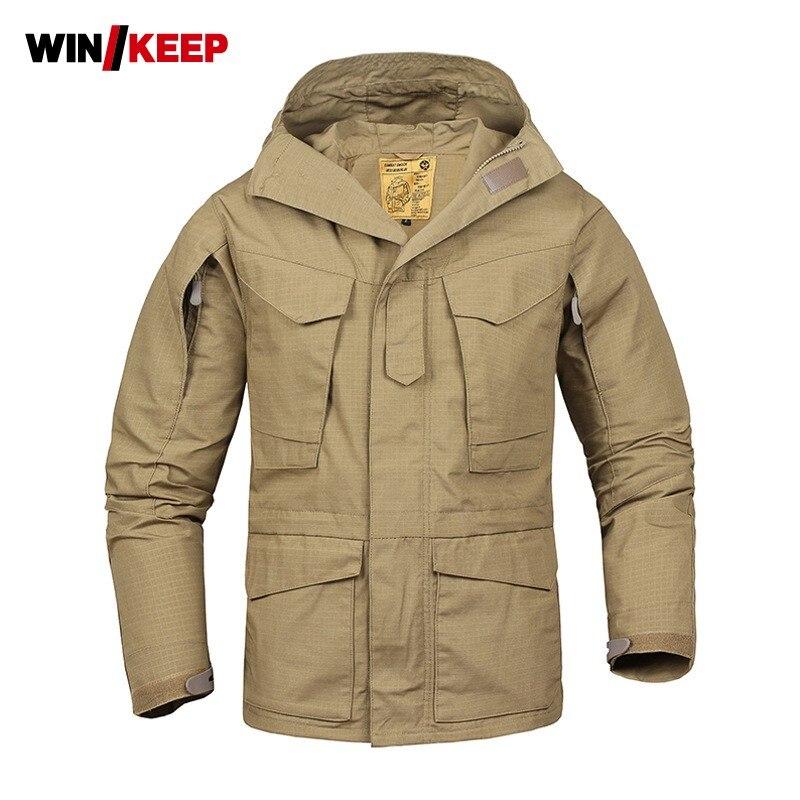Hommes tactiques militaires imperméable à l'eau Windreaker Trench à capuche Camping randonnée veste poches en plein air pêche vestes homme vêtements d'extérieur manteau