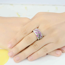 Rose Red CZ crystals Creative Tree Rings for women Plum Blossom Branch Silver Plated Wedding Female D30