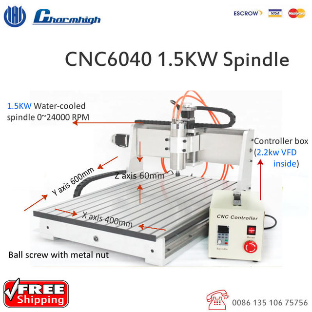 1 5kw Spindle 2 2kw Vfd Desktop 3 Axis Cnc6040 Cnc Router Ball Engraving