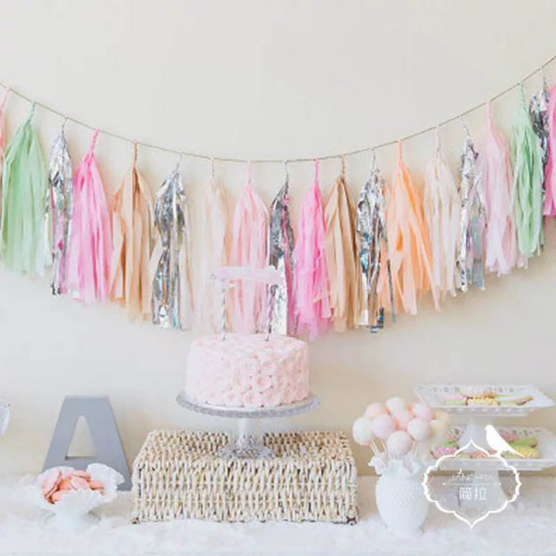 35cm 20pcs tissue paper tassel party multicolor wedding for Deco table multicolore