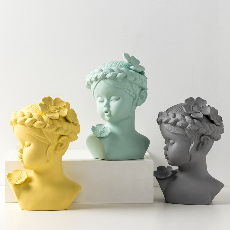 Nordic Style Creative Ceramic Characters Avatar Sculpture Ornaments Home Decoration Baby Face Statue Desktop Crafts Xmas
