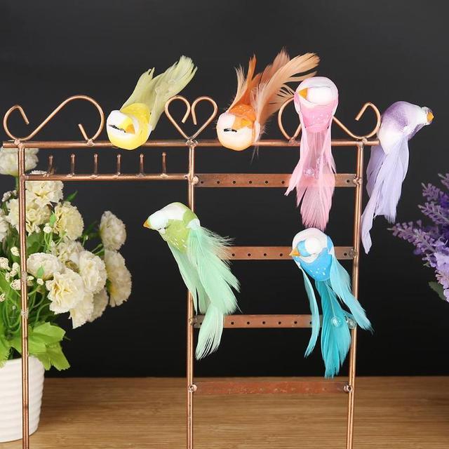 6 יח'\סט כמו בחיים חרוזים סימולציה קצף מיני ציפורים דגם מיניאטורי קישוט חתונת בית גן קישוט