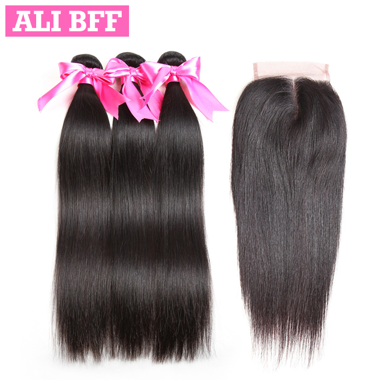 ALI BFF Brazilian Straight Hair Bundles With Closure Non Remy 100% Human Hair Extensions 3 Bundles With Closure