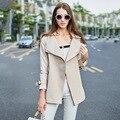 2016 осень новый стиль мода простой свет хаки тонкий размер агента с длинным траншеи пальто женщин