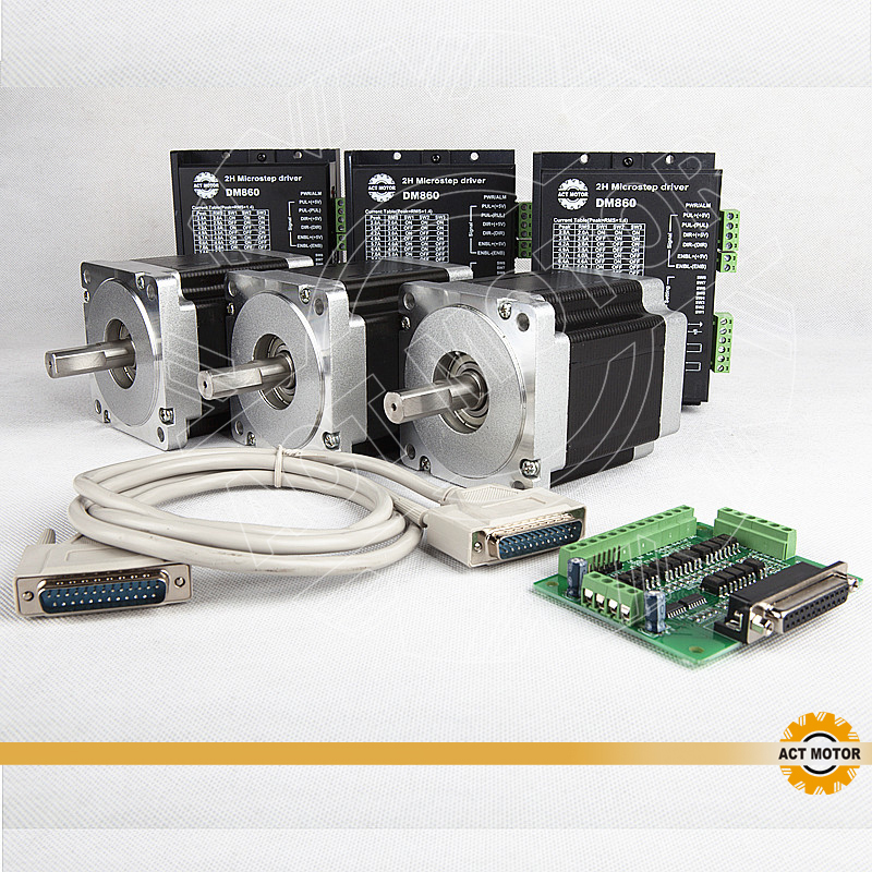 ACT Motor 3PCS Nema34 Stepper Motor 34HS5435 Single Shaft 1600oz in 3 5A 3PCS Driver DM860