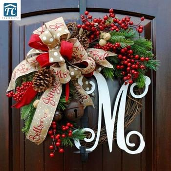 Christmas American Garland Door Decoration Creative Christmas Simulation Garland Wall Decoration Rattan Decoration Decorations