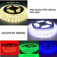 شريط إضاءة LED 5M 5050 SMD يفضل تيار مستمر 12 فولت/24 فولت أبيض/دافئ أبيض/أحمر/أخضر/أزرق IP20/IP65/IP67 (مقاوم للماء)