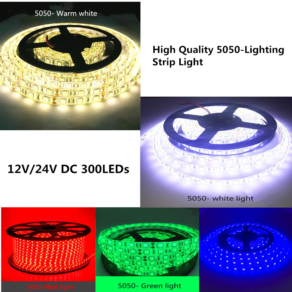 LED 5M 5050 SMD patch Strip Light project preferred DC 12V/24V White/Warm white/Red/Green/Blue IP20/IP65/IP67 (Waterproof) 5m 300pcs 5050 smd leds 72w 2000lm ip65 waterproof highlight decoration black strip lamp warm white light