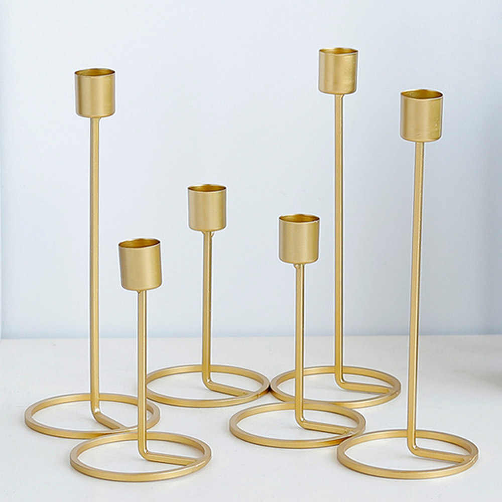 Nordic style Candle Holder Gold Single Head Iron 3D Geometric Candlestick Romantic Table Decor Creative Home Wedding Decoration