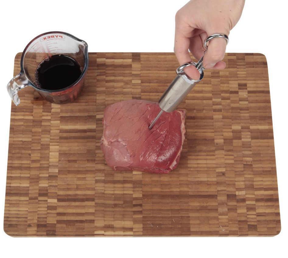 איכות גבוהה 304 נירוסטה בשר מזרק מזרק ערכת גריל טורקיה מחט מזרק עוף מנגל כלי עם 2-oz
