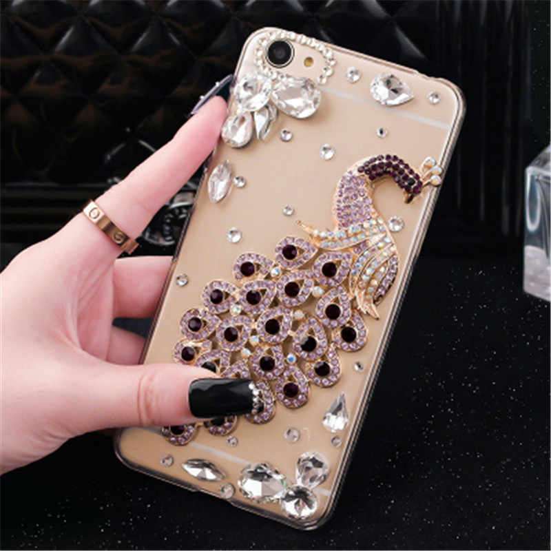 luxury phone Diamond house bag for Samsung C10 J5 J6 J7 J8 case peacock crystal funda coque for Samsung A6 A8 A7 A5 case cover