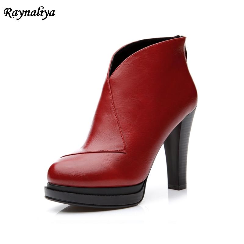 Фото Sheepskin Leather Zipper High Heels Shoes Woman Spring Autumn Black Ankle Boots Fashion Elegant Womens Boots LSN-B0041