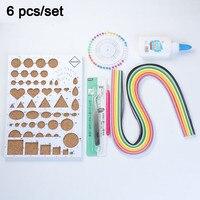 6PCs Set Paper Multicolor Quilling Strip Bead Needle Pen Glue Template At Random With Liquid DIY