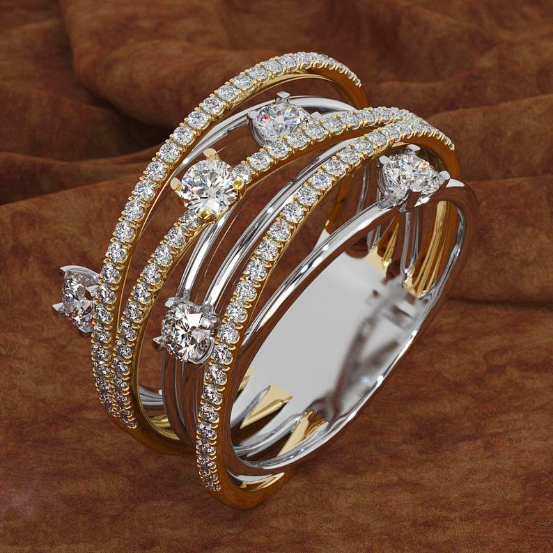 Stone Ring Zircon Crystal Promise Wedding Silver Luxury Female Women Cute Love Fashion