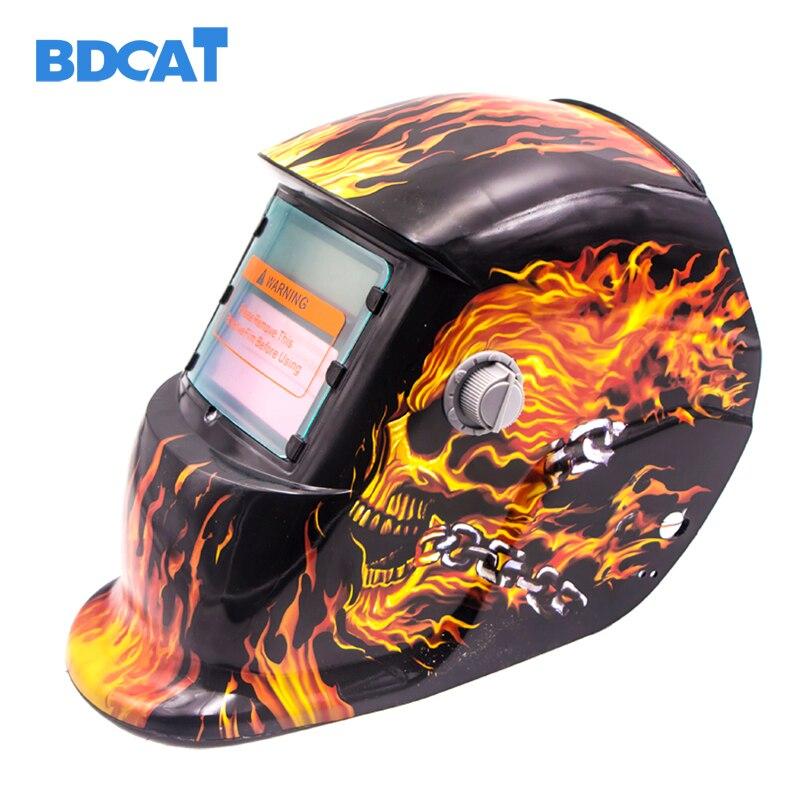 BDCAT crâne solaire Auto assombrissement MIG MMA masque de soudage électrique/casque/capuchon de soudeur/lentille de soudage pour Machine à souder