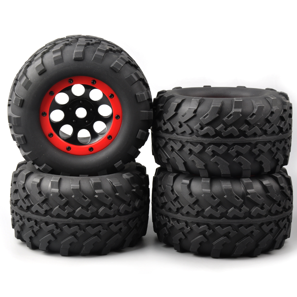 4 PCS/Set Rubber rubber wheels for toys Bigfoot Tires Tyre Red Wheel Rim For 1/8 Rc Truck Car 3011 rc car tire & wheel