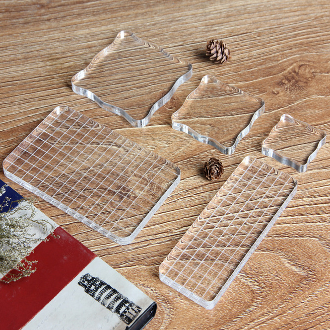 High Quality Crystal Stamp Handle Seal Stamping Accessories Large Transparent Acrylic Board Work With Slicone Stamps And Inkpad