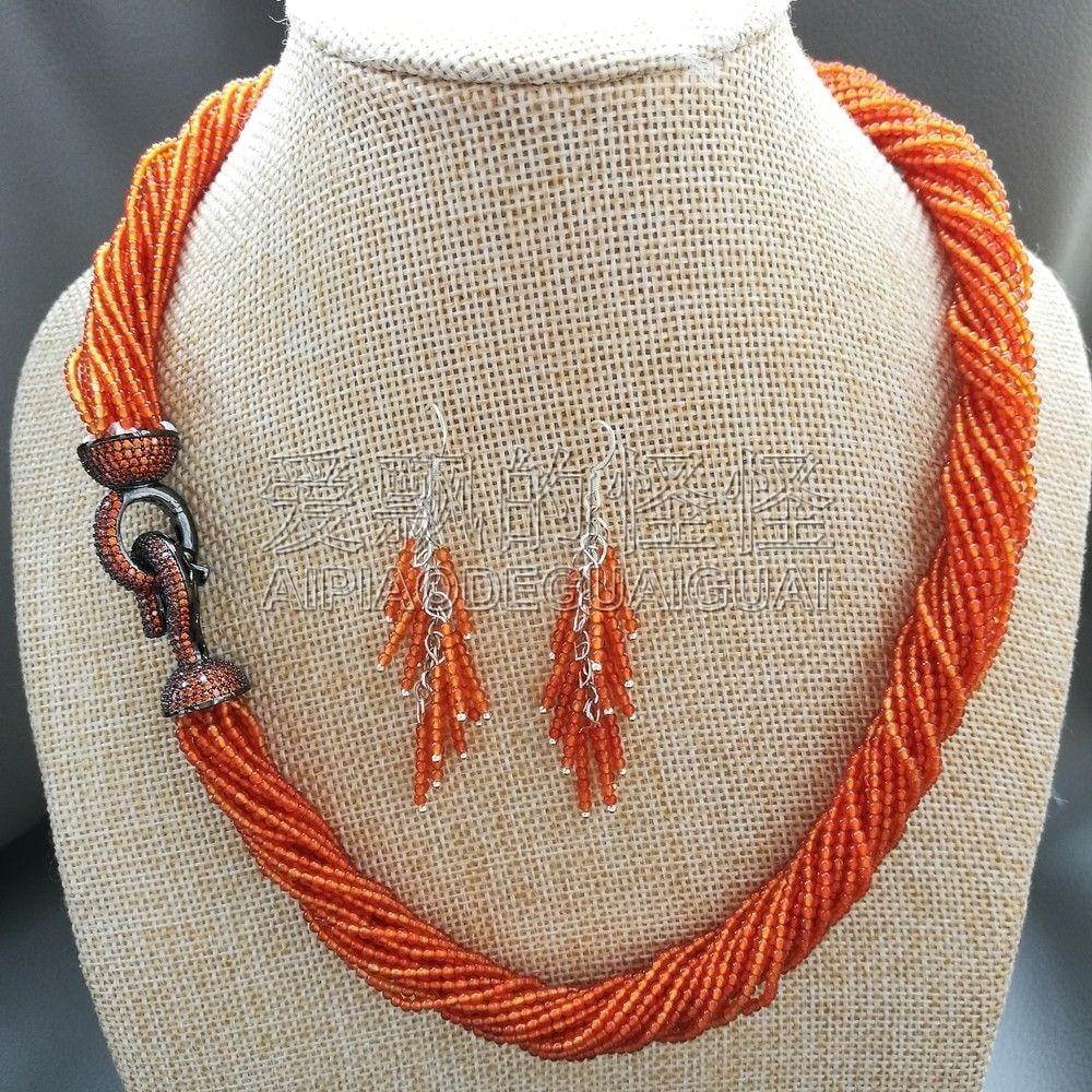 "S100301 20"" 20 Strands 2mm Orange Necklace Earrings Set"