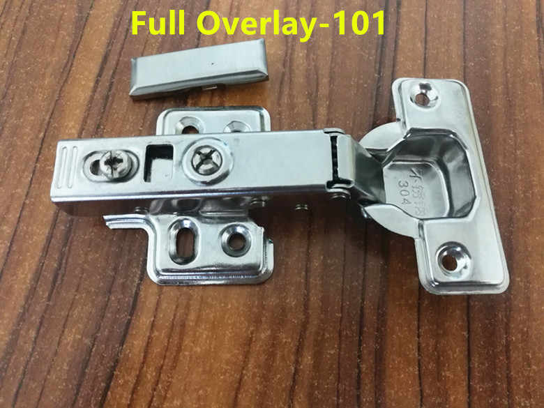 101 Full Overlay Stainless steel Hinges Hydraulic  Damper Buffer Cabinet  Door Hinges Soft Close Furniture hinges