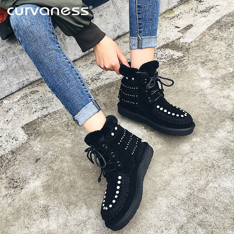 Curvaness Womens Suede Crystal Fringed Lace Winter Boots Warm Wool Snow Boots Fur Suede Flat Ankle Boots Sashion WomenCurvaness Womens Suede Crystal Fringed Lace Winter Boots Warm Wool Snow Boots Fur Suede Flat Ankle Boots Sashion Women