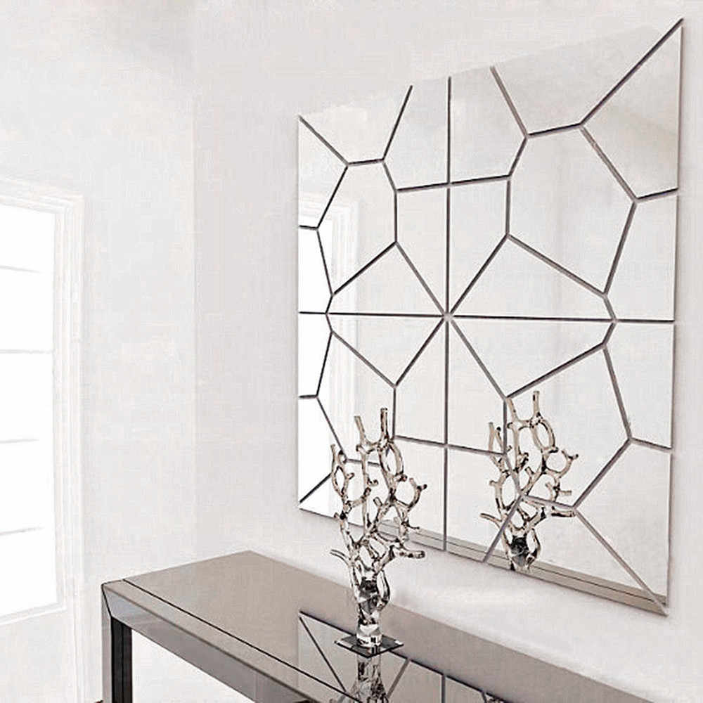 7Pcs Geometric Pattern Crystal Stereo Mirror Wall Sticker Acrylic 20*20cm4 Small Piece For A Set