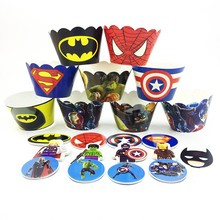 12 Cupcake Wrappers 12 Cake topper Super hero Avengers Decoration Accessories Kids Boy Birthday Party Baking Cake Wrap Paper Cup(China)
