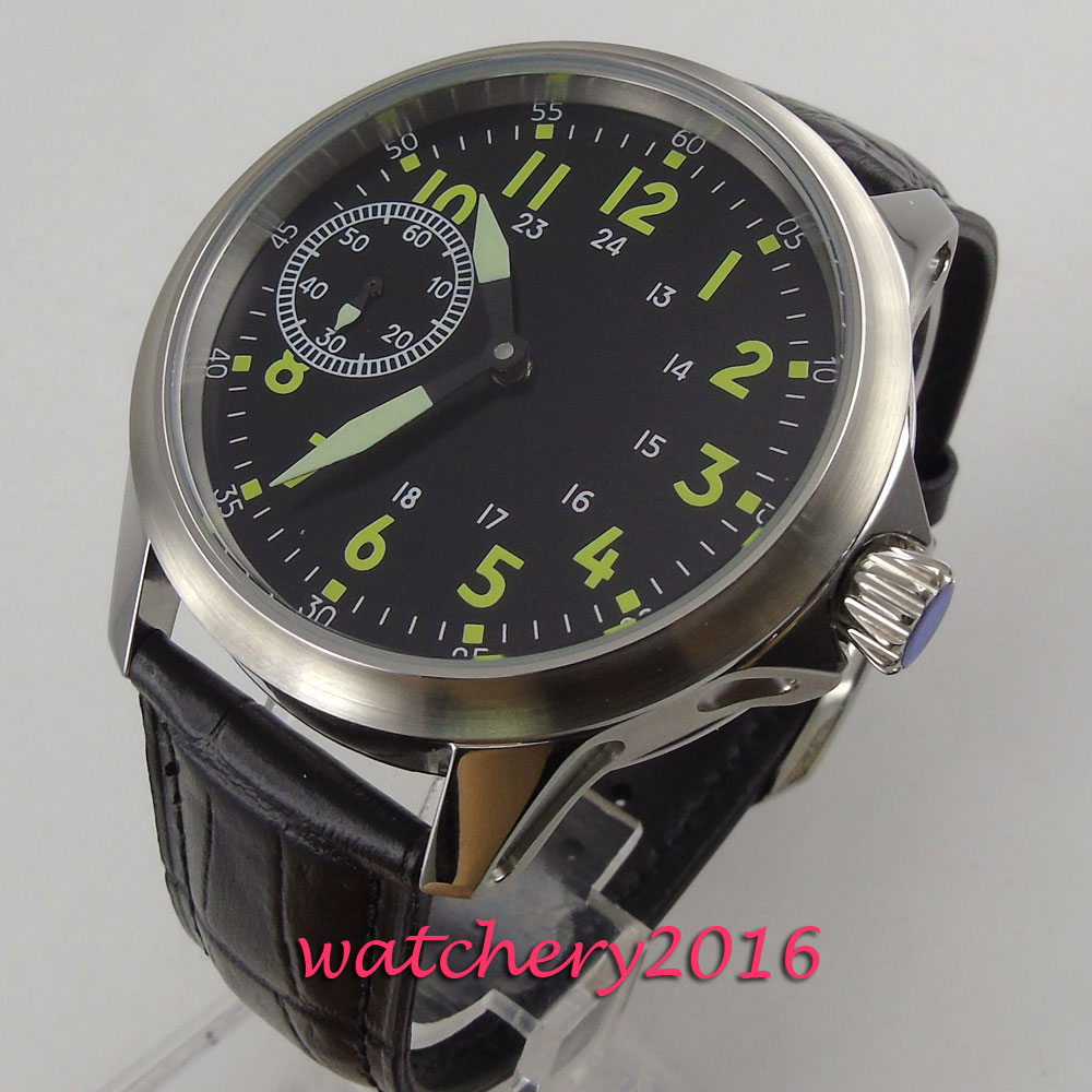 Fashion Black strap Mens Watches Dial Wrist Watch Top Brand Luxury 17 Jewels 6497 Hand Winding Casual