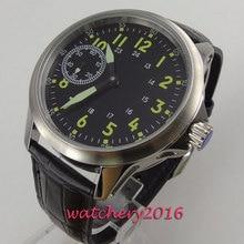 цена Fashion Black strap Mens Watches Black Dial Wrist Watch Mens Watches Top Brand Luxury 17 Jewels 6497 Hand Winding Casual Watch онлайн в 2017 году