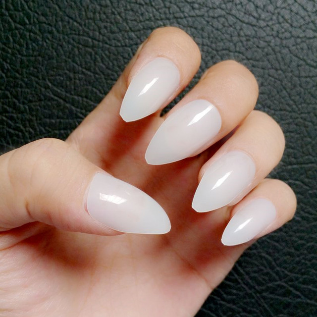24Pcs Shiny False Nails Natural White Stiletto Fake Nail Full Cover ...