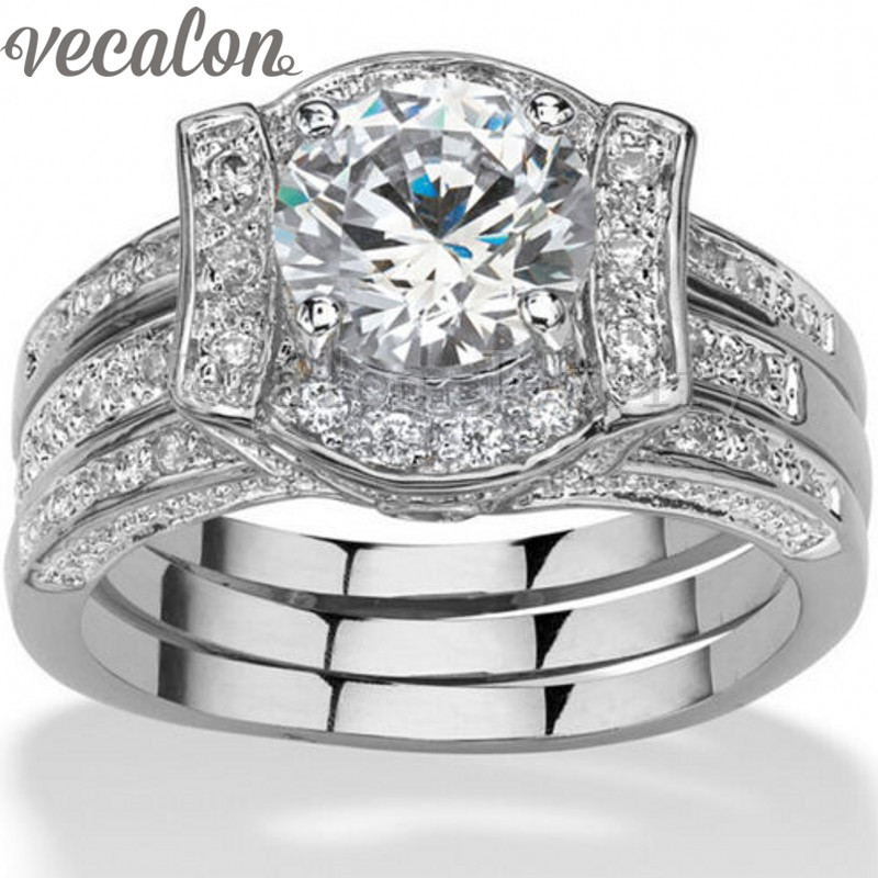 Vecalon 2-in-1 Engagement Jewelry Round 3ct 5A Zircon cz Wedding Band Ring Set for Women 14KT White Gold Filled Party ring встраиваемый электрический духовой шкаф hansa boei62030030