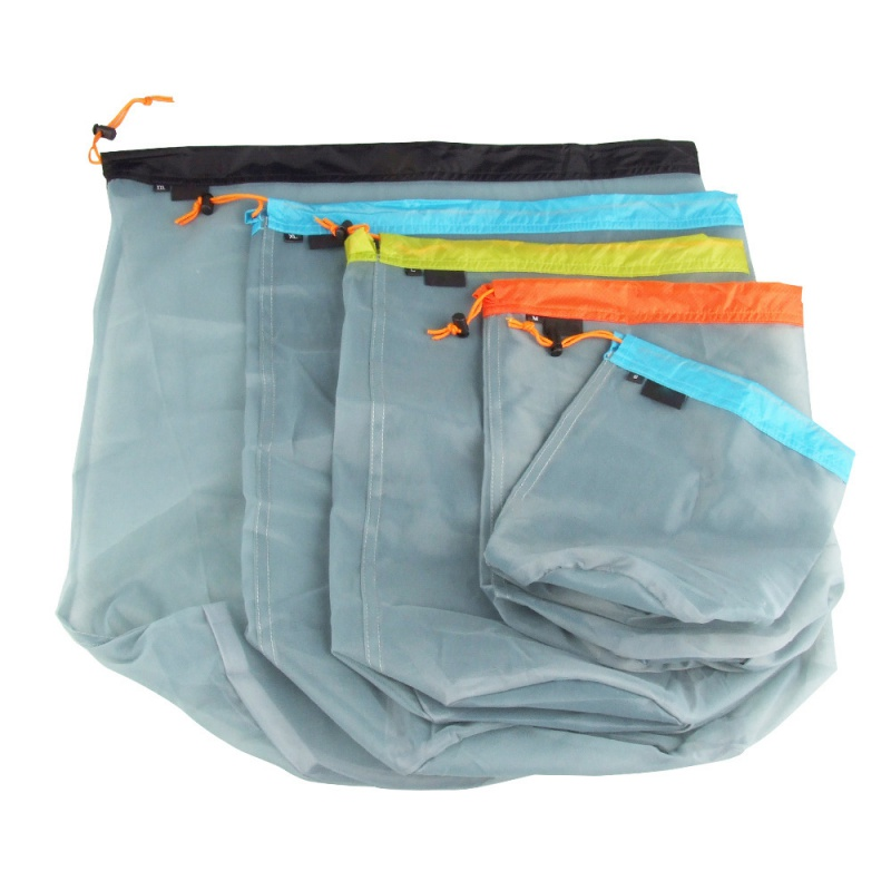 1Pc Ultralight Drawstring Mesh Storage Bag For Outdoor Tavelling Camping Hike Climbing Laundry Cloth Pouch Clothing Organizer