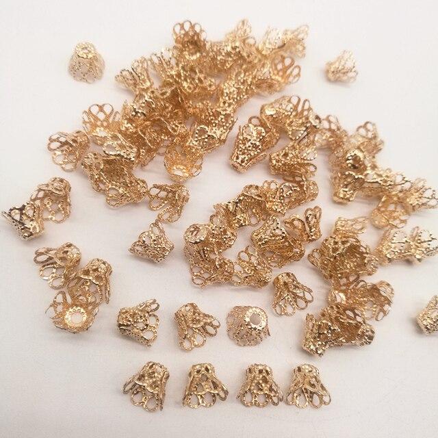 100 pz Accessori di Gioielli in Perline Caps Medium tazza di vino Argento/Oro/Argento Opaco Placcatura
