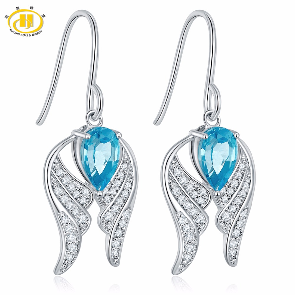 Hutang Natural 2.2ct Sky Blue Topaz Wing Earrings Solid 925 Sterling Silver Gemstone Fine Stone Jewelry For Women's Gift NEW