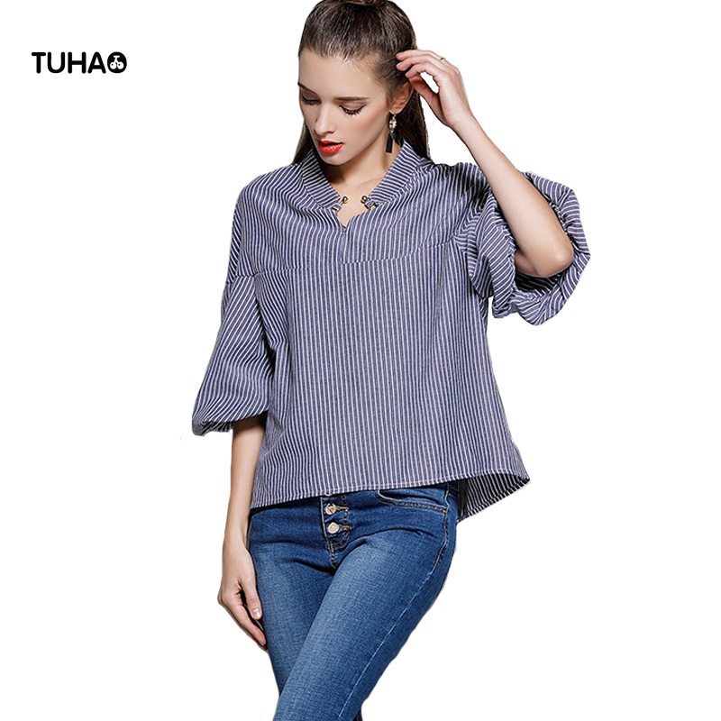 TUHAO Puff Sleeve Blouses Women Clothing Matal V-Neck Collar Casual Tops Autumn Loose Striped Shirts Roupas Feminia TB5919