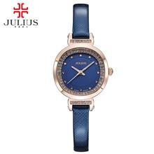 2016 новый женщины лучшие качества bling роскошный горный хрусталь часы Платье мода повседневная кварцевые часы Натуральная кожа лучший Юлий 843