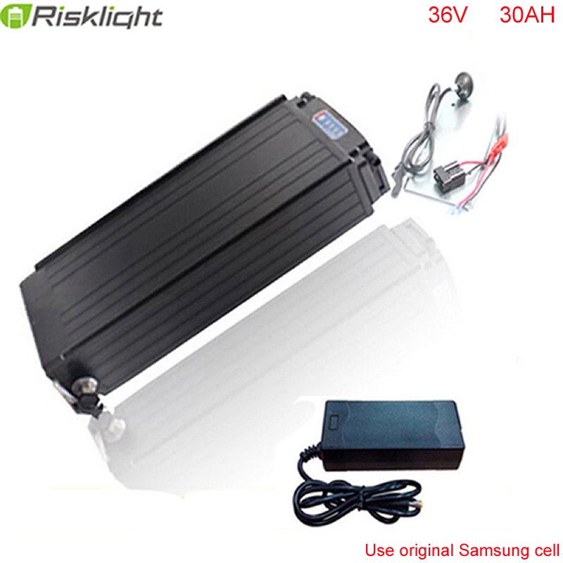 36V 30AH Electric Bicycle Lithium Battery with BMS  Rear rack battery 36V 1000W  with Power lights Tail lights For Samsung cell rear rack 20ah 48v akku 48v 1000w lithium ion battery for ebike battery pack with power lights and tail lights for samsung cell