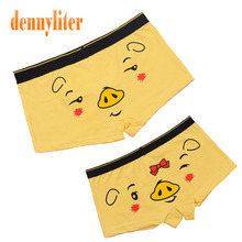 DENNYLITER 1 Set Couple Underwear Panties Boxer Men Cartoon Lovers Underpants Couple Cotton Shorts for Men and Women