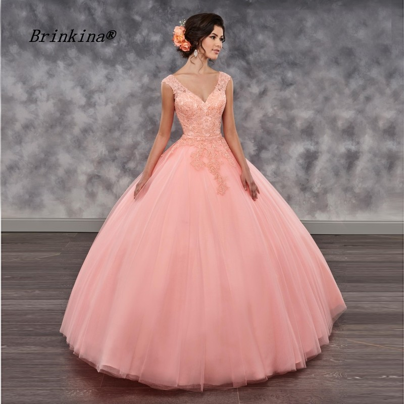 Brinkina Two Pieces V Neck Lace Tulle Coral Paty Ball Gown Quinceanera Dresses Custom Made Sweet 16 Dresses