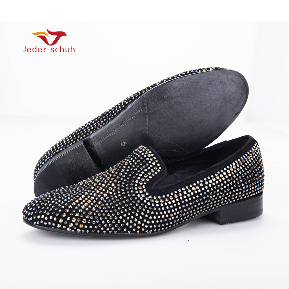 New Handmade three color rhinestone mixed men suede loafers Luxury brands same style party and wedding men shoes men's flats