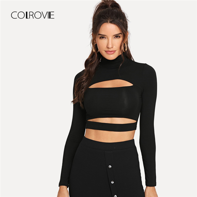 a5ca709c59 COLROVIE Solid High Neck Cut Out Sexy Crop Black T Shirt Women Tops 2018  Autumn Long Sleeve Tee Street Office Female T Shirts-in T-Shirts from  Women s ...