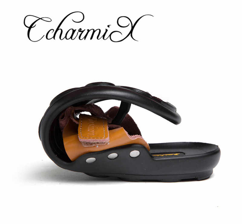 a6e8f6bbcf725 ... CcharmiX 2019 Summer Men Flip Flop Beach Mens Slippers Casual Office  Top Quality Leather Male Footwear ...