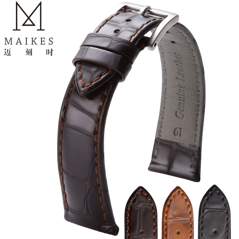 MAIKES Brand New Genuine Leather Watch Strap 18mm 19mm 20mm 22mm Durable Stainless Steel Buckle Watch