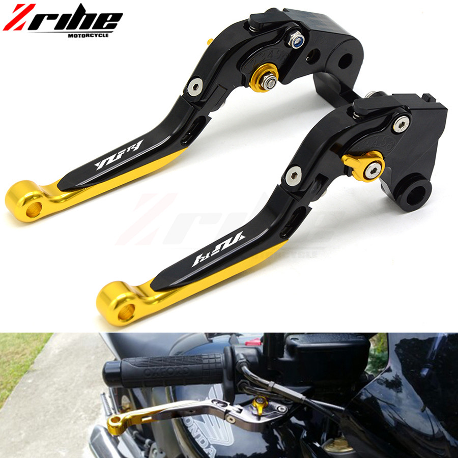 for accessories motorcycle brake clutch lever for yamaha YZF R1 2002-2003  FZ1 FAZERCNC 2001-2005 motorbike brake levers set with logo yzf r1 black titanium cnc adjustable folding extendable motorcycle brake clutch levers for yamaha yzf r1 2002 2003