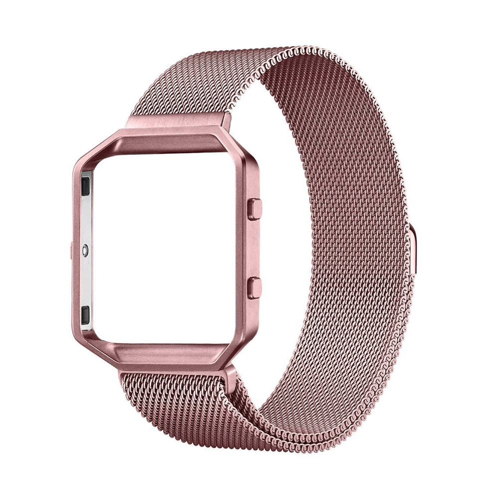 XG382 For Fitbit Blaze Bands Men Women Stainless Steel Milanese Bracelet Magnetic Closure Replacement Strap with Metal Frame in Watchbands from Watches