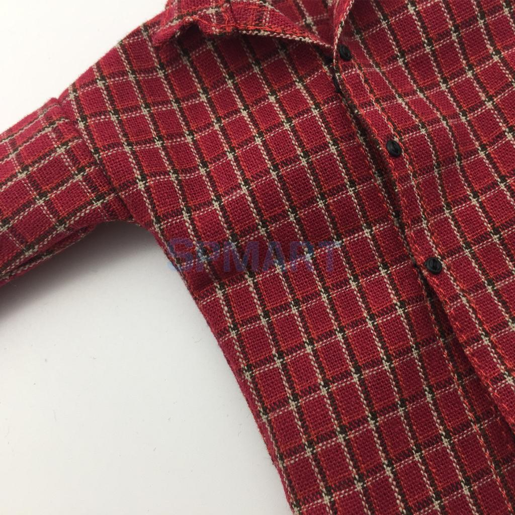 1//6 Doll Cloth Clothes Plaid Shirts Long Sleeve for 12/'/' Kumik Action Figure