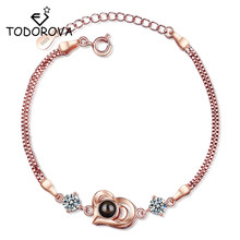 Todorova New Arrival Valentines Day Rose Gold 100 Languages I Love You Projection Fashion Charm Women Bracelet Dropshipping