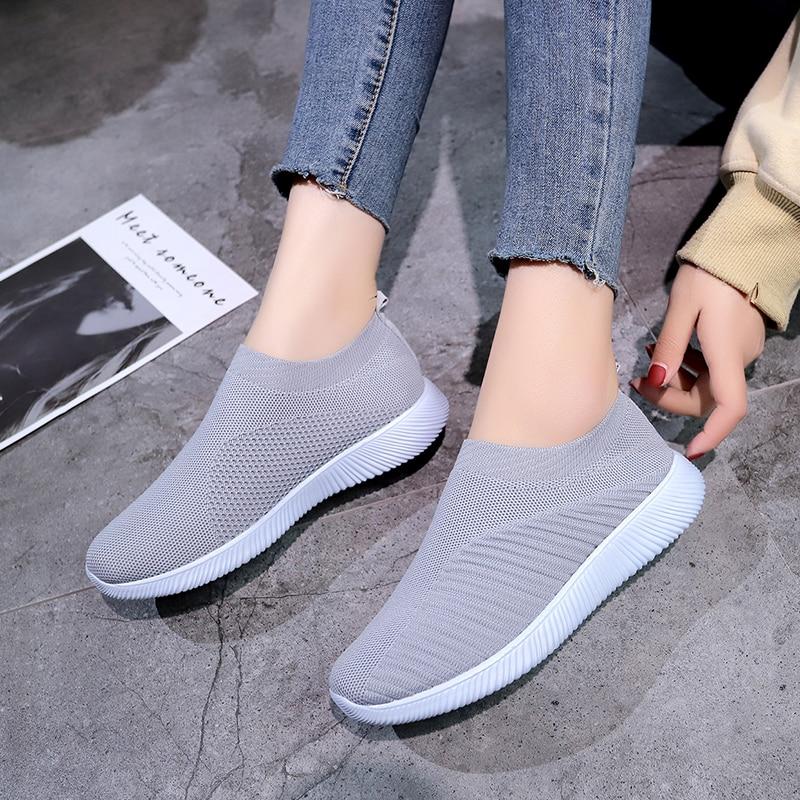 2019 New Women Shoes Plus Size35-43 Fashion Slip On Sock Shoes Female Air Mesh Sneakers Flat Casual Tenis Feminino women Shoes Сникеры
