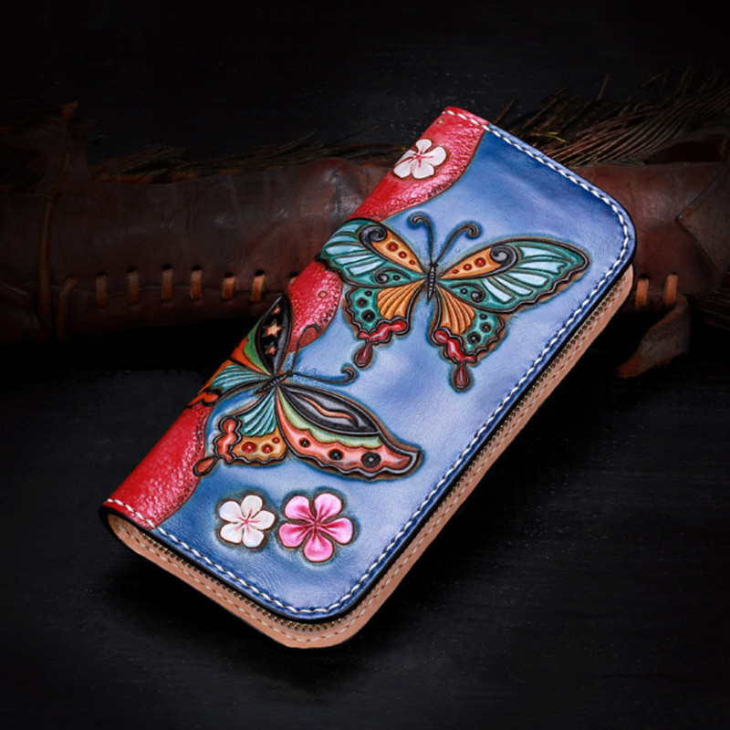 Genuine Leather Wallets Carving Butterfly Flower Zipper Bag Purses Women Clutch Vegetable Tanned Leather Wallet Mother Present genuine leather wallets carving lotus bag purses women long clutch vegetable tanned leather wallet mother s day gift