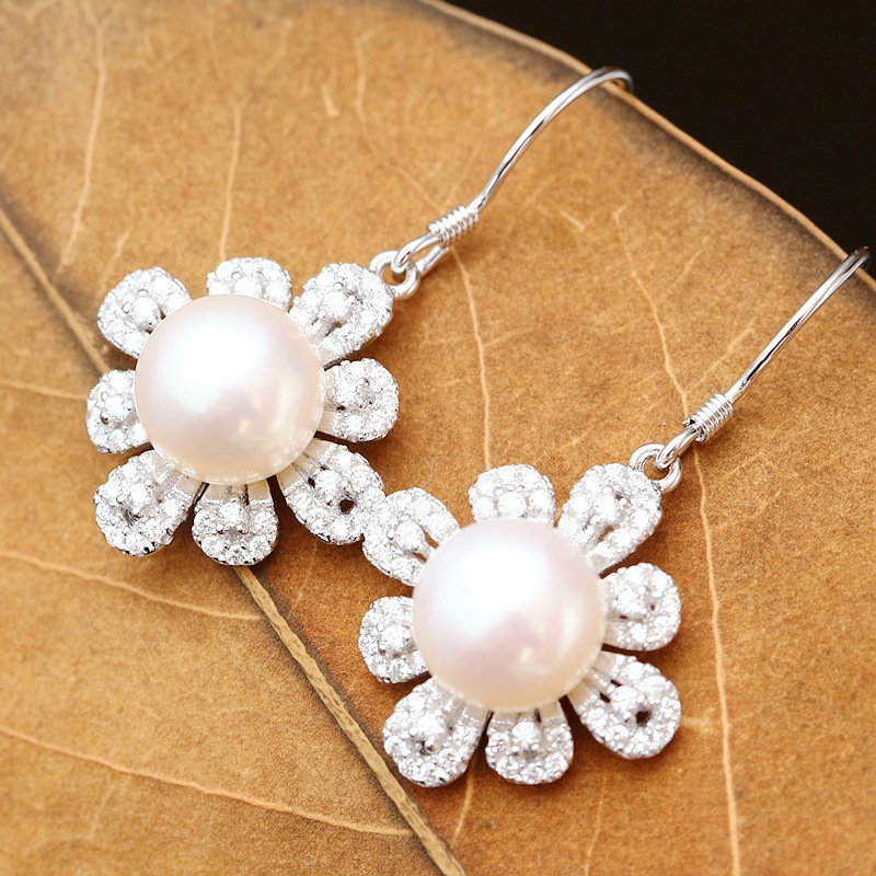 925 sterling silver with natural pearl earrings Han edition fashion allergy free silver earrings allergy free kids
