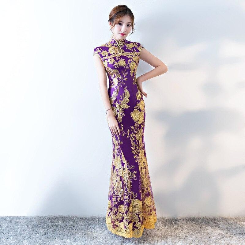 Femmes chinois robe traditionnelle pour la fête dame élégance Cheongsam robe de mariée Vintage demoiselle d'honneur Qipao paillettes robe de soirée